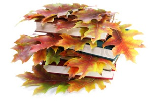 Books with golden autumn leaves. Isolated on white.